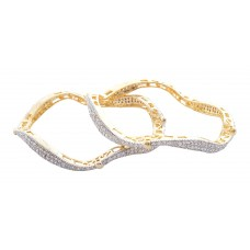 Designer AD Bangles Gold Plated silver colour