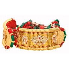 Traditional Gold Plated Rajputi Bajuband Studded Beautifully with White Stones
