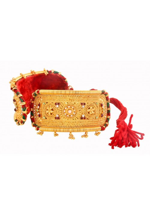 Traditional Gold Plated Rajputi Bajuband studded with pearl and colored stones