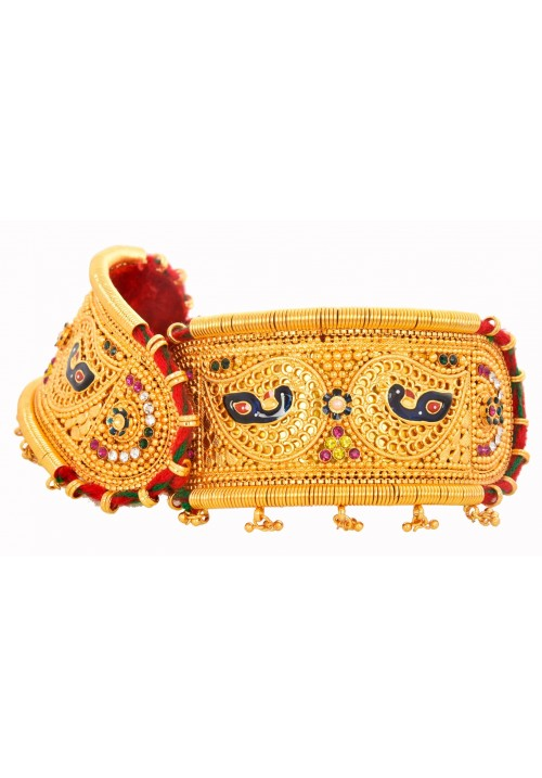 Traditional Gold Plated Rajputi Bajuband with colourful Peacock Design