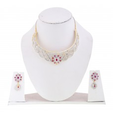 Ad Designer Necklace Set with Ruby Stones