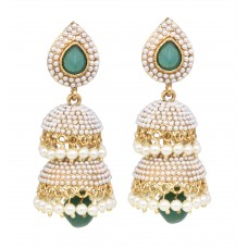 Designer White Pearl Jhumka Earrings  Set With Beautiful Emerald