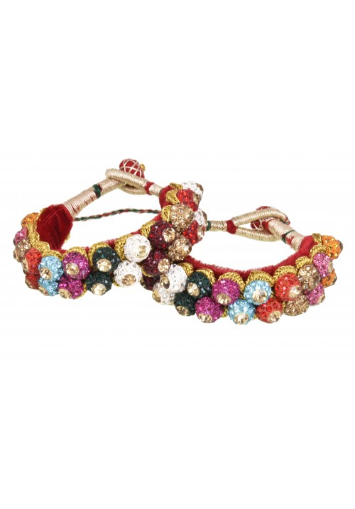 Rajputi Multi coloured Double Line Ponchi Bracelet