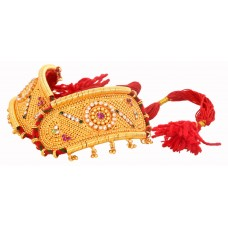 Traditional Gold Plated Rajputi Bajuband/ Armlet studded with multicolored stones